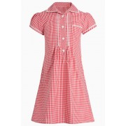 Next Lace Gingham Dress (3-14yrs) - Red