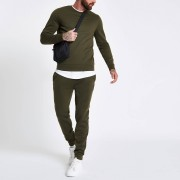 River Island Mens Dark Green crew neck long sleeve sweatshirt (XS)