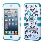 Funda Protector triple layer Apple Ipod 5 Blanco / Aqua cachorros c/ pie metalico