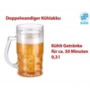 Rosenstein & Söhne Doppelwandiger Bierkrug, Bier- & Getränke-Kühler mit Fake-Bier, 0,3 l