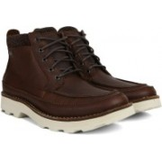 Clarks Korik Rise GTX Tobacco Leather Boots For Men(Brown)