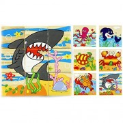 Mily 3 D Volume Wooden Puzzle Marine Animals Wooden Cube Block Jigsaw Puzzles Lobster,Whale,Turtle,Shark,Crab,Octopus