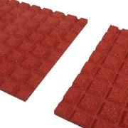 Červená gumová dlaždice (V25/R15) - délka 100 cm, šířka 100 cm a výška 2,5 cm