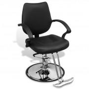 vidaXL Професионален фризьорски стол от изкуствена кожа, черен