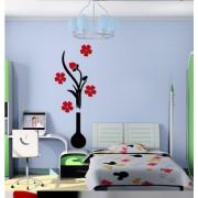 Samolepka na stenu 3D Váza s kvetinami A (AL)