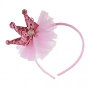 ELECTROPRIME Kids Sequin Hair Hoop Princess Tiara Crown Sweet Headband for Birthday Party