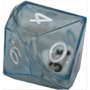 Gymnic Koplow Games Set of 2 D10 26mm Double Dice, 2-in-1 Dice - White Inside Translucent Blue Die #12593