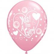 "Baloane latex 11"" inscriptionate Yes! I'm a Girl Pink, Qualatex 87184"