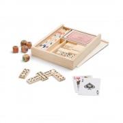 Set jocuri 4-in-1 in cutie din lemn, Everestus, JJE03, natur, saculet de calatorie inclus