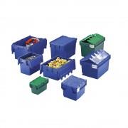 Mehrweg-Stapelbehälter mit Klappdeckel Inhalt 80 Liter, LxBxH 710 x 460 x 368 mm grün