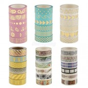 ELECTROPRIME® 6pcs Mixed Paper Washi Masking Tape Adhesive Roll Decorative Card Craft Trim