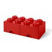 cutie de depozitare LEGO 8 - rosu cu sertare 250 x 500 x 180 mm