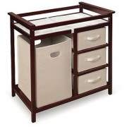 Badger Basket Modern Changing Table with 3 Baskets and Hamper Cherry