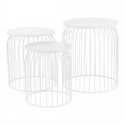 [en.casa]® Set de 3 cestas de metal de diseño - mesa auxiliar / mesa de centro blancas metal