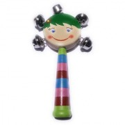 BuzyKart Colorful Wooden Rainbow Handle Jingle Bell Rattle Toy With Top Round Face