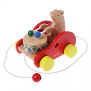 HATCHMATIC Bear Drum Solid Wood Pull Toys Wooden Pull Along Toy Kids Educational Animal Toy: As Show
