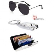Ediotics Attitude Black Aviator Sunglasses & Jaguar Silver Chrome Plated Keychain & Alumi Wallet Combo