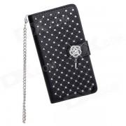 Elegante protector de cuero Flip-Open PU + PC caso con soporte para LG Optimus G2 - Negro