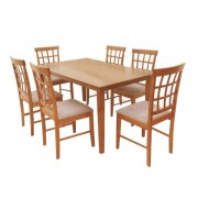 Étkezőgarnitúra 1 + 6, cseresznyefa/bézs textil, GRID 1+6