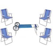 Kit Carrinho de Praia + 4 Cadeiras Alta de Alumínio