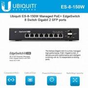 EdgeSwitch 8 ES-8-150W Managed PoE Plus Gigabit Switch with SFP 2 SFP Port