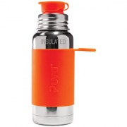 Pura Sport Vacuum Insulated 16 OZ / 470 ML Stainless Steel Water Bottle with Silicone Sport Flip Cap Orange Sleeve