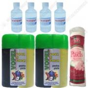 Pachet - 2 x Vopel Negru, Vopsea pentru piele si fixator + 4 x Acetona, Dizolvant, 50 ml Dischete curatare 70 buc.