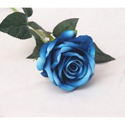 YJBear Velvet Artificial Blue Rose Flower for Home Decoration Office Decor Washable DIY Flowers for Party Wedding Bouquets(1 Bunch of 6 Flowers)