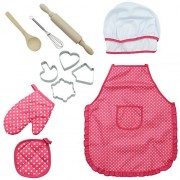 Ids Chef Set for Kids, 11 Pieces Cooking Play Set for Kids Cook Costume for Girls, Pink