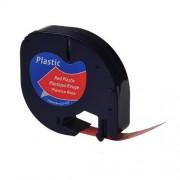 Banda Dymo Letratag DY91203 12mm, plastic rosu