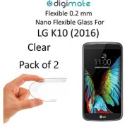 Digimate Nano Clear 0.2 mm Screen Guard Protector Flexible Glass for LG K10 2016 (Pack of 2)
