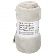 Merkloos Creme warme fleece dekens 150 x 200 cm