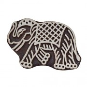 Asian Hobby Crafts ASNHC1172_D Wooden Printing Hand-Carved Stamp Block - Elephant