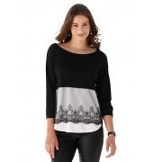 AMY VERMONT Pullover, Damen, schwarz, mit besticktem Netzeinsatz
