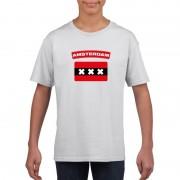 Bellatio Decorations T-shirt Amsterdamse vlag wit kinderen XS (110-116) - Feestshirts