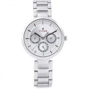 Titan Quartz Silver Round Women Watch 2480SM03