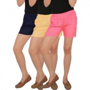 Culture the Dignity Women's Solid Rayon Shorts With Side Pockets Combo of 3 - Navy Blue - Cream - Baby Pink - C_RSHT_B3CP2 - Pack of 3 - Free Size