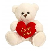 15 Inch White Teddy Bear holding red Love You Heart