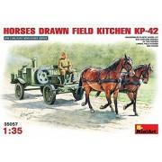 Miniato Miniart 1/35 Soviet Field Kitchen 2kp-42 (with Horses Towing Horse 2) Ma35057