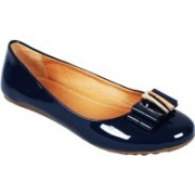 Vilax Shining patent Ballerinas With Buckle Embellishment Bellies(Blue, Beige)