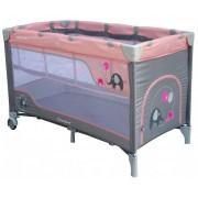 Baby Mix prémium emelhető magasságú utazóágy pink színben elefántos mintával