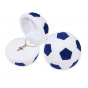 Kék és fehér színű, focilabda alakú ékszertartó doboz