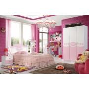 Set mobilier Mimi din MDF 4 piese: pat 150 200cm cu 2 sertare, noptiera, dulap 3 usi si birou colt pentru camera fete