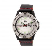Reign Emery Automatic Leather-Band Watch w/Date - Silver/Silver/Black REIRN5001