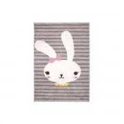 Miliboo Grauer Kinderteppich mit Hasenmotiv gewebt 120x170cm BONNIE