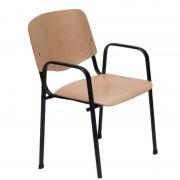 ISO Maxi Wood Nero karfás vendégszék fa ülő- és hátlappal