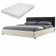 MyBed Cama tapizada + colchón 140x200cm negro/crema cuero sintético + Textil - Castrillo de Duero