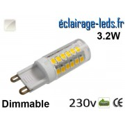 Ampoule LED G9 dimmable 3.2w smd 2835 blanc naturel 230v ref g9-07