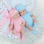 "iCradle 10"" 26cm Mini Lifelike Baby Boy and Sleeping Girl Twins Handmade Reborn Doll Full Body Vinyl Silicone Realistic Looking Newborn Twin Dolls Anatomically Correct"