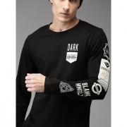 Stylogue Men's Black Printed Round Neck T-shirts